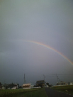 朝…虹が…